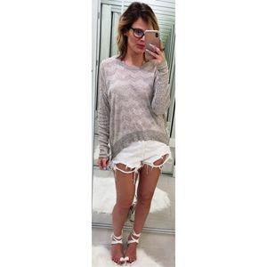 Wilt Gray Chevron Striped Cashmere Blend Sweater